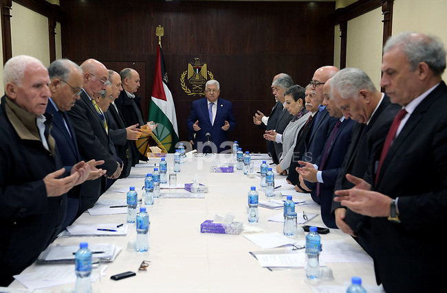 Palestinian President Mahmoud Abbas during the Executive Committee meeting in the West Bank city of Ramallah, on December 6, 2019. Photo by Thaer Ganaim