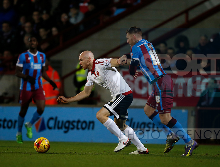 Conor Sammon of Sheffield Utd and Jack King of Scunthorpe Utd - English League One - Scunthorpe Utd vs Sheffield Utd - Glandford Park Stadium - Scunthorpe - England - 19th December 2015 - Pic Simon Bellis/Sportimage