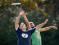 NWA Democrat-Gazette/BEN GOFF @NWABENGOFF<br /> John Pearson (left) of Bentonville and Robin Lenogue of Fayetteville jump for a catch on Monday Nov. 2, 2015 during the NWA Ultimate lunch hour game at Phillips Park in Bentonville.