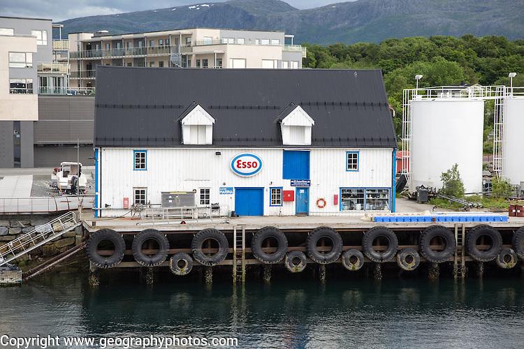 Esso gas petrol station for boats waterside building, Bronnoy, Bronnoysund, Nordland, Norway