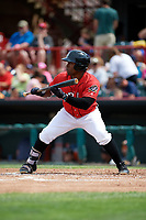 Erie SeaWolves left fielder Christin Stewart (35) squares around to bunt during a game against the Akron RubberDucks on August 27, 2017 at UPMC Park in Erie, Pennsylvania.  Akron defeated Erie 6-4.  (Mike Janes/Four Seam Images)