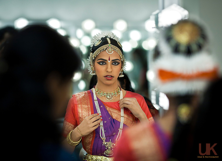 Pranati getting ready before her Arangetram at the Eisemann Center