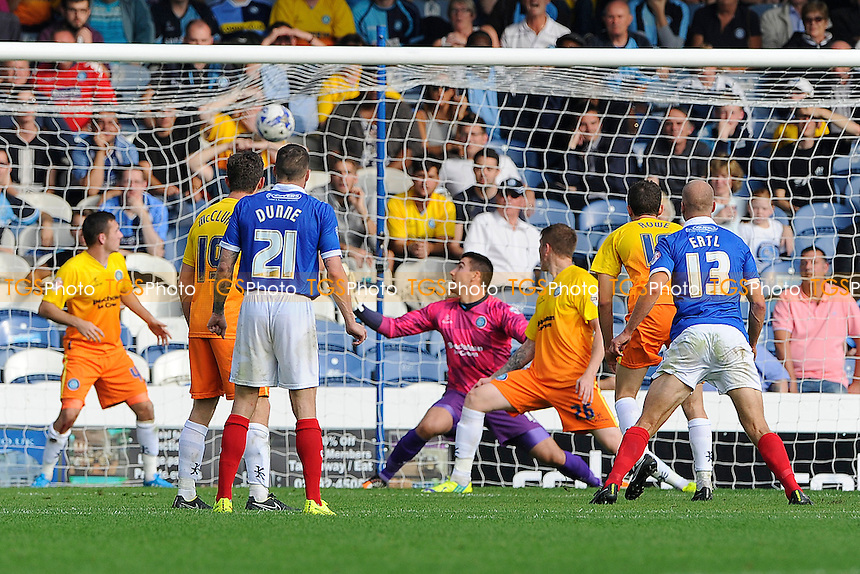 Matt Ingram of Wycombe Wanderers can only watch as Jonannes Ertl of Portsmouth scores the equaliser - Portsmouth vs Wycombe Wanderers - Sky Bet League Two Football at Fratton Park, Portsmouth, Hampshire - 20/09/14 - MANDATORY CREDIT: Denis Murphy/TGSPHOTO - Self billing applies where appropriate - contact@tgsphoto.co.uk - NO UNPAID USE