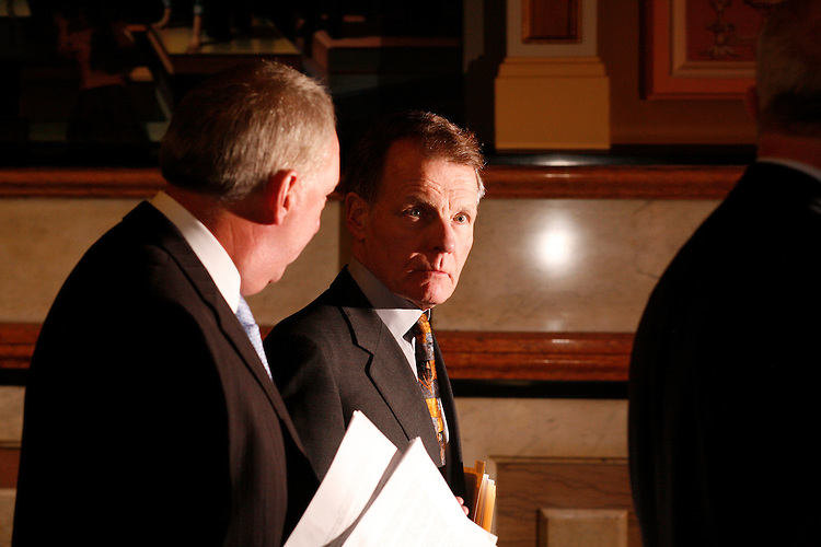 Illinois Speaker of the House Michael Madigan, D-Chicago, exits a Democrat caucus about possibly impeaching Gov. Rod Blagojevich, at the Illinois State Capitol in Springfield, Ill., Monday, Dec. 15, 2008..Kristen Schmid Schurter