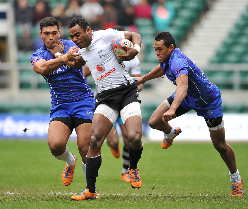 Fiji's Donasio Ratubuli in action during today's match against Samoa &nbsp;<br /> <br /> Photographer Ashley Western/CameraSport<br /> <br /> Rugby Union Sevens - Marriott London Sevens - Quarter Final Cup - Samoa v Fiji - Sunday 11th May 2014 - Twickenham - London<br /> <br /> &copy; CameraSport - 43 Linden Ave. Countesthorpe. Leicester. England. LE8 5PG - Tel: +44 (0) 116 277 4147 - admin@camerasport.com - www.camerasport.com