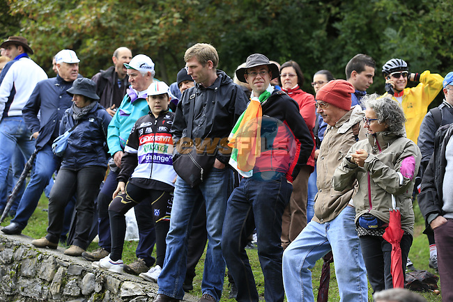 Fans gather near the summit of the savage climb Muro di Sormano during the 107th edition 2013 Tour of Lombardy 242 Km starting in Bergamo and finishing in Lecco. 6th October 2013.<br /> (Photo: Eoin Clarke/www.newsfile.ie)