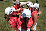 HOUSTON, TX - MAY 12: Rhodes College coach, Mike Cleary is hugged by members of the team during the Division III Women's Golf Championship held at Bay Oaks Country Club on May 12, 2017 in Houston, Texas. Rhodes College won the Division III National Championship with a score of 1217(Photo by Rudy Gonzalez/NCAA Photos/NCAA Photos via Getty Images)