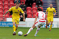 Fleetwood Town's Ashley Hunter tries to get past Doncaster Rovers' Niall Mason<br /> <br /> Photographer David Shipman/CameraSport<br /> <br /> The EFL Sky Bet League One - Doncaster Rovers v Fleetwood Town - Saturday 6th October 2018 - Keepmoat Stadium - Doncaster<br /> <br /> World Copyright &copy; 2018 CameraSport. All rights reserved. 43 Linden Ave. Countesthorpe. Leicester. England. LE8 5PG - Tel: +44 (0) 116 277 4147 - admin@camerasport.com - www.camerasport.com