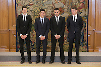 Marc Marquez (2L), Alex Marquez (L), Steve Rabat (R) and Toni Bou during Royal Audience with King Felipe VI of Spain at Zarzuela Palace in Madrid, Spain. November 20, 2014. (ALTERPHOTOS/Victor Blanco) /NortePhoto.com<br />