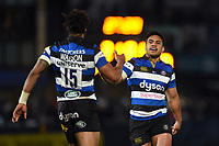 Anthony Watson of Bath Rugby celebrates his try with team-mate Ben Tapuai. Aviva Premiership match, between Worcester Warriors and Bath Rugby on January 5, 2018 at Sixways Stadium in Worcester, England. Photo by: Patrick Khachfe / Onside Images