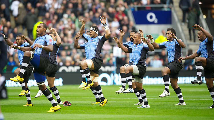 Fiji players perform the Cibi before the QBE International between England and Fiji at Twickenham on Saturday 10th November 2012 (Photo by Rob Munro)