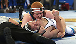 BROOKINGS, SD - JANUARY 11:  Hunter Weddington from South Dakota State University pins Alex Smith from Dakota Wesleyan in seventeen seconds in their 197 pound match Sunday afternoon at Frost Arena in Brookings. (Photo by Dave Eggen/Inertia)