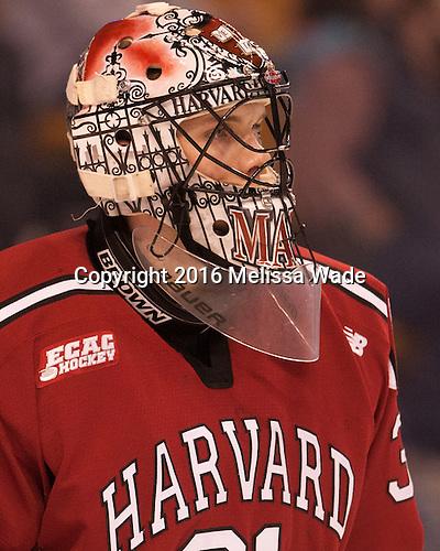 Merrick Madsen (Harvard -  31) - The Boston College Eagles defeated the Harvard University Crimson 3-2 in the opening round of the Beanpot on Monday, February 1, 2016, at TD Garden in Boston, Massachusetts.