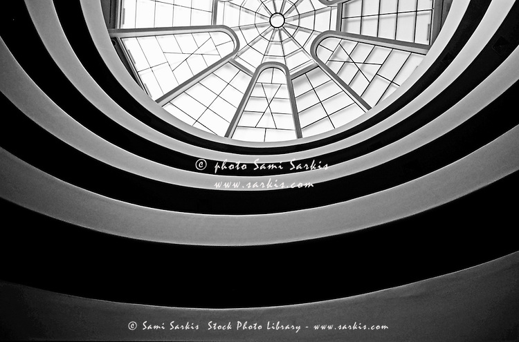 Spiral staircase and ceiling inside The Guggenheim, New York, USA.