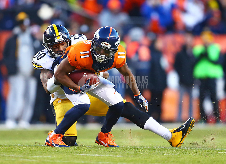 Jan 17, 2016; Denver, CO, USA; Denver Broncos wide receiver Jordan Norwood (11) is tackled by Pittsburgh Steelers linebacker Ryan Shazier (50) during the AFC Divisional round playoff game at Sports Authority Field at Mile High. Mandatory Credit: Mark J. Rebilas-USA TODAY Sports