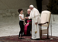 "Pope Francis greets dancer Jorge Garcia Lamelas performing during an audience with members of the ""Yo Puedo!"" project in the Paul VI hall at the Vatican on November  30, 2019.<br /> UPDATE IMAGES PRESS/Isabella Bonotto<br /> <br /> STRICTLY ONLY FOR EDITORIAL USE"