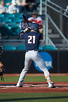 Danny Doligale (21) of the Illinois Fighting Illini at bat against the Coastal Carolina Chanticleers at Springs Brooks Stadium on February 22, 2020 in Conway, South Carolina. The Fighting Illini defeated the Chanticleers 5-2. (Brian Westerholt/Four Seam Images)