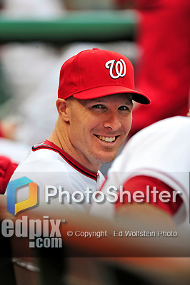 30 September 2009: Washington Nationals infielder Pete Orr smiles on the bench prior to a game against the New York Mets at Nationals Park in Washington, DC. The Nationals rallied in the bottom of the 9th inning on a Justin Maxwell walk-off Grand Slam to win 7-4 and sweep the Mets 3-game series capping the Nationals' 2009 home season. Mandatory Credit: Ed Wolfstein Photo