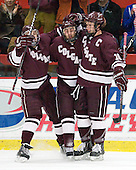 Austin Smith (Colgate - 9), Robbie Bourdon (Colgate - 17), Kevin McNamara (Colgate - 10) - The Harvard University Crimson defeated the visiting Colgate University Raiders 4-2 on Saturday, November 12, 2011, at Bright Hockey Center in Cambridge, Massachusetts.