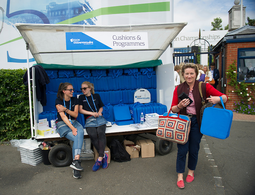Programme sellers at Queens Club, London during the AEGON Championships<br /> <br /> Photographer Ashley Western/CameraSport<br /> <br /> Tennis - ATP 500 World Tour - AEGON Championships- Day 5 - Friday 19th June 2015 - Queen's Club - London <br /> <br /> &copy; CameraSport - 43 Linden Ave. Countesthorpe. Leicester. England. LE8 5PG - Tel: +44 (0) 116 277 4147 - admin@camerasport.com - www.camerasport.com