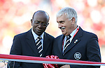 01 July 2007: CONCACAF President Jack Warner (l) and Canadian Soccer Association President Colin Linford (r) during a ribbon cutting ceremony before the game. At the National Soccer Stadium, also known as BMO Field, in Toronto, Ontario, Canada. Chile's Under-20 Men's National Team defeated Canada's Under-20 Men's National Team 3-0 in a Group A opening round match during the FIFA U-20 World Cup Canada 2007 tournament.