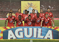 CALI - COLOMBIA-10-02-2019: Jugadores del América posan para una foto previo al partido por la fecha 4 de la Liga Águila I 2019 entre América de Cali y Atlético Junior jugado en el estadio Pascual Guerrero de la ciudad de Cali. / Players of America pose to a photo prior match for the date 4 as part of Aguila League I 2019 between America Cali and Atletico Junior played at Pascual Guerrero stadium in Cali. Photo: VizzorImage / Gabriel Aponte / Staff