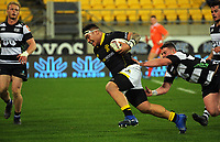 Alex Fidow runs for the tryline during the Mitre 10 Cup rugby union match between Wellington Lions and Hawkes Bay Magpies at Westpac Stadium, Wellington, New Zealand on Wednesday, 6 September 2017. Photo: Dave Lintott / lintottphoto.co.nz