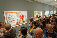 """Pictured: Hundreds of guests attended the exhibition. Wednesday 03 April 2019<br /> Re: Official opening of Stefanos Rokos' exhibition """"No More Shall We Part"""" with paintings based on the 2001 Nick Cave and The Bad Seeds album with the same title, Benaki Museum, Athens, Greece."""