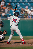 Lancaster JetHawks designated hitter Manuel Melendez (19) at bat during a California League game against the San Jose Giants at San Jose Municipal Stadium on May 12, 2018 in San Jose, California. Lancaster defeated San Jose 7-6. (Zachary Lucy/Four Seam Images)