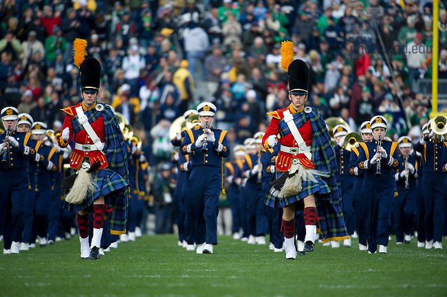 Nov. 3, 2012; The Irish Guard lead the Notre Dame Marching Band onto the field before kickoff against Pittsburgh. Photo by Barbara Johnston/University of Notre Dame