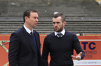 Plymouth Argyle manager Derek Adams (left) chats with Luton Town manager Nathan Jones before the Sky Bet League 2 match between Plymouth Argyle and Luton Town at Home Park, Plymouth, England on 19 March 2016. Photo by Liam Smith.