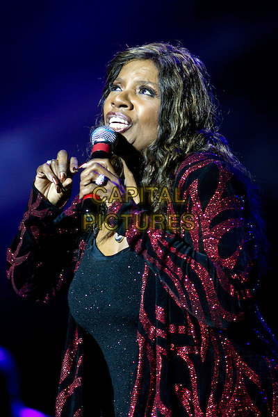 Gloria Gaynor.In concert at the Crocus City Hall,  Moscow, Russia..December 6th, 2011.stage live gig performance performing on half length black red jacket pattern sequins sequined singing  .CAP/PER/SB.©SB/PersonaStars/CapitalPictures