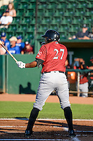 Joshua Banuelos (27) of the Idaho Falls Chukars at bat against the Ogden Raptors in Pioneer League action at Lindquist Field on June 23, 2015 in Ogden, Utah. Idaho Falls beat the Raptors 9-6. (Stephen Smith/Four Seam Images)
