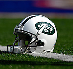 30 September 2007: A New York Jets helmet lies on the turf prior to a game against the Buffalo Bills at Ralph Wilson Stadium in Orchard Park, NY. The Bills defeated the Jets 17-14 handing the Jets their third loss of the season...Mandatory Photo Credit: Ed Wolfstein Photo