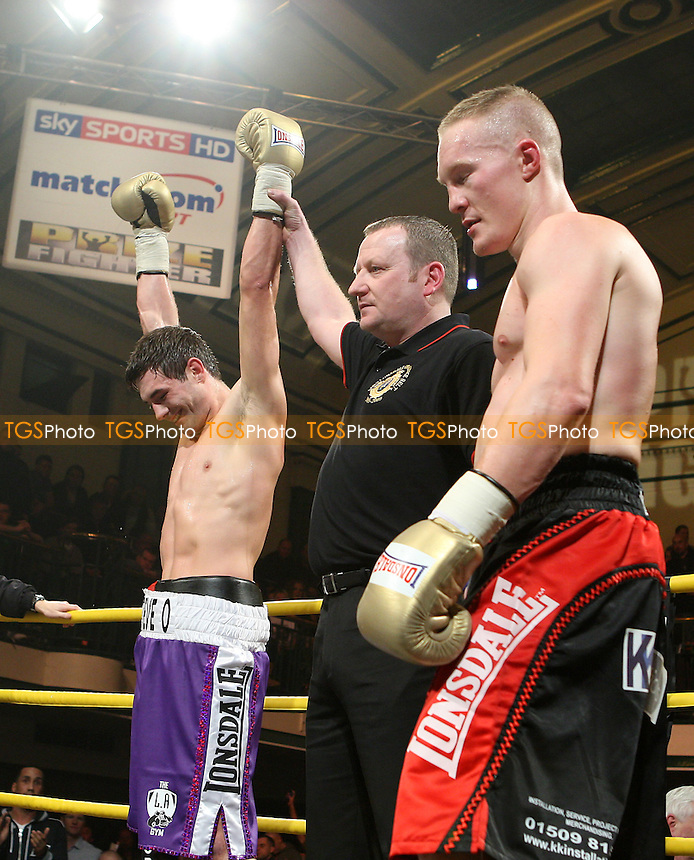 Steve O'Meara (purple shorts) defeats Martin Concepcion in the Quarter-Final of Prizefighter 'The Light Middleweights' at York Hall, Bethnal Green, promoted by Matchroom Sports / Barry Hearn - 26/02/10 - MANDATORY CREDIT: Gavin Ellis/TGSPHOTO - Self billing applies where appropriate - Tel: 0845 094 6026