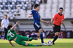 Shibasaki Gaku of Japan (R) is challenged by Hojayev Resul of Turkmenistan (L) during the AFC Asian Cup UAE 2019 Group F match between Japan (JPN) and Turkmenistan (TKM) at Al Nahyan Stadium on 09 January 2019 in Abu Dhabi, United Arab Emirates. Photo by Marcio Rodrigo Machado / Power Sport Images