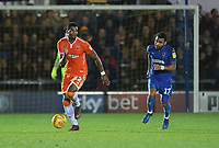 Blackpool's Michael Nottingham under pressure from AFC Wimbledon's Andy Barcham<br /> <br /> Photographer Kevin Barnes/CameraSport<br /> <br /> The EFL Sky Bet League One - AFC Wimbledon v Blackpool - Saturday 29th December 2018 - Kingsmeadow Stadium - London<br /> <br /> World Copyright &copy; 2018 CameraSport. All rights reserved. 43 Linden Ave. Countesthorpe. Leicester. England. LE8 5PG - Tel: +44 (0) 116 277 4147 - admin@camerasport.com - www.camerasport.com