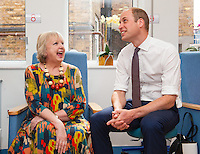 17 May 2016 - London, England - Prince William Duke of Cambridge (right) meets breast cancer patient Sally Munton during a visit to the Royal Marsden NHS Foundation Trust, in Chelsea, west London, as he marks the opening of the hospital's new centre for breast cancer research named after the fashion designer. The Ralph Lauren Centre for Breast Cancer Research was funded by supporters of the Royal Marsden Cancer Charity, including a generous donation from the designer. William has a long association with the hospital, he became the Royal Marsden's president in 2007, following in the footsteps of his mother Diana, Princess of Wales, who held the same position from 1989 until her death in 1997. Photo Credit: ALPR/AdMedia