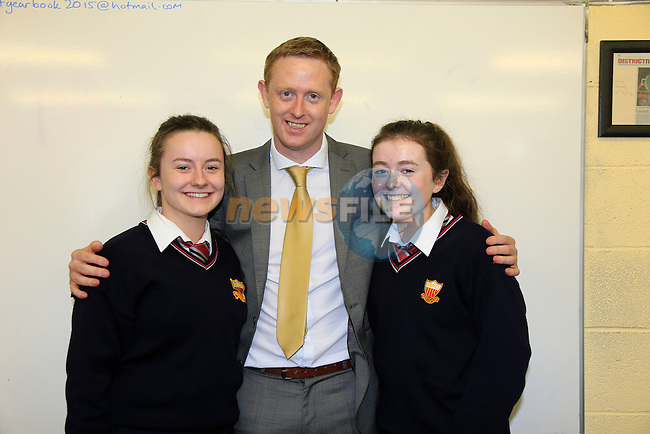 Colm Cooper speaking to the students in the Sacred Heart school. Avril Owens and Ellen Healy<br /> Picture www.newsfile.ie