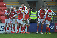 Fleetwood Town's Wes Burns celebrates scoring his side's second goal with team-mates<br /> <br /> Photographer Kevin Barnes/CameraSport<br /> <br /> The EFL Sky Bet League One - Fleetwood Town v Peterborough United - Saturday 15th February 2020 - Highbury Stadium - Fleetwood<br /> <br /> World Copyright © 2020 CameraSport. All rights reserved. 43 Linden Ave. Countesthorpe. Leicester. England. LE8 5PG - Tel: +44 (0) 116 277 4147 - admin@camerasport.com - www.camerasport.com