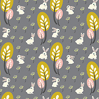 """Bunnies in Wildflowers"" is a hand illustrated scalable vector surface pattern inspired Scandinavian minimalism and bunnies roaming in wilderness.<br />