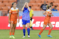 Houston, TX - Wednesday June 28, 2017: Natasha Dowie reacts to missing a shot on Houston's goal during a regular season National Women's Soccer League (NWSL) match between the Houston Dash and the Boston Breakers at BBVA Compass Stadium.