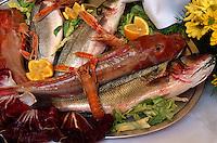 Fischgericht im Restaurant L'Aragosta, Marina di Campo, Elba, Italien