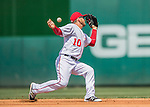 15 May 2016: Washington Nationals shortstop Stephen Drew loses an infield popup in the sun, allowing two runs to score during a game against the Miami Marlins at Nationals Park in Washington, DC. The Marlins defeated the Nationals 5-1 in the final game of their 4-game series.  Mandatory Credit: Ed Wolfstein Photo *** RAW (NEF) Image File Available ***