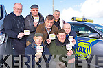 Taxi drivers in Killarney are displaying the Be Aware Suicide Prevention know your number stickers in their Taxi's at the launch on Monday were front Denis Courtney and Tom Leslie. Back l-r: Tom Palmer, David O'Sullivan, Dan Devane, Con Moynihan and Moses Walsh
