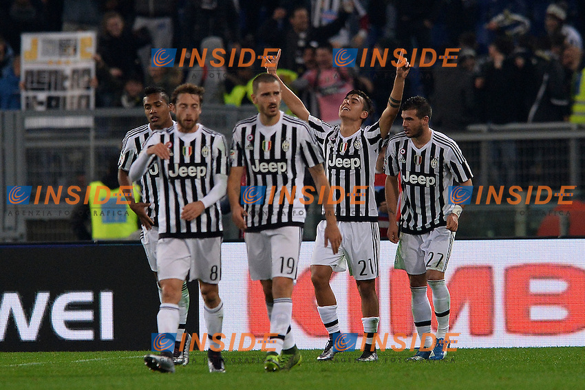 Esultanza dopo il gol di Paulo Dybala Juventus. Goal celebration.<br /> Roma 4-12-2015 Stadio Olimpico, Football Calcio 2015/2016 Serie A Lazio - Juventus. Foto Antonietta Baldassarre / Insidefoto