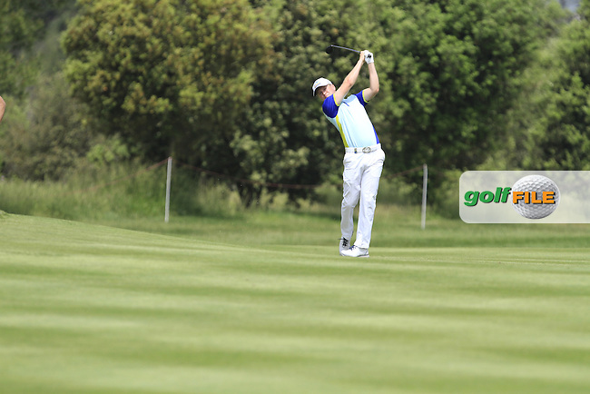 Matt Ford (ENG) on the 18th fairway during Round 1 of the Open de Espana  in Club de Golf el Prat, Barcelona on Thursday 14th May 2015.<br /> Picture:  Thos Caffrey / www.golffile.ie