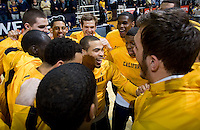 Justin Cobbs of California talks with his teammates before the game against Stanford at Haas Paviliion in Berkeley, California on March 6th, 2013.  Stanford defeated California, 83-70.