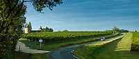 Chateau de Trois Tours and Bordelais vineyards in the Bordeaux wine region of France
