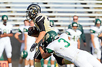 Palos Verdes, CA 10/25/13 - Ryan Augello (Peninsula #29) and Harrison Morrow (Mira Costa #3) in action during the Mira Costa vs Peninsula varsity football game at Palos Verdes Peninsula High School.